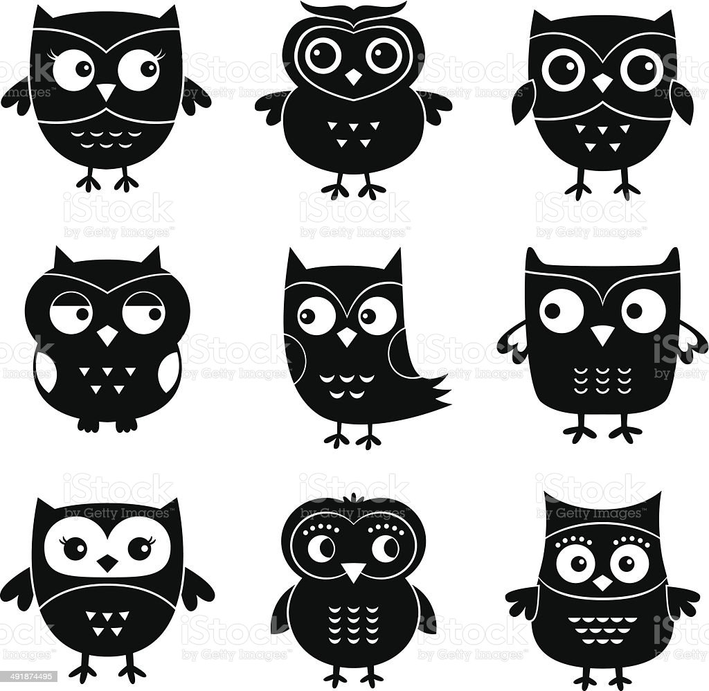 owls cartoon vector set stock vector art 491874495 istock