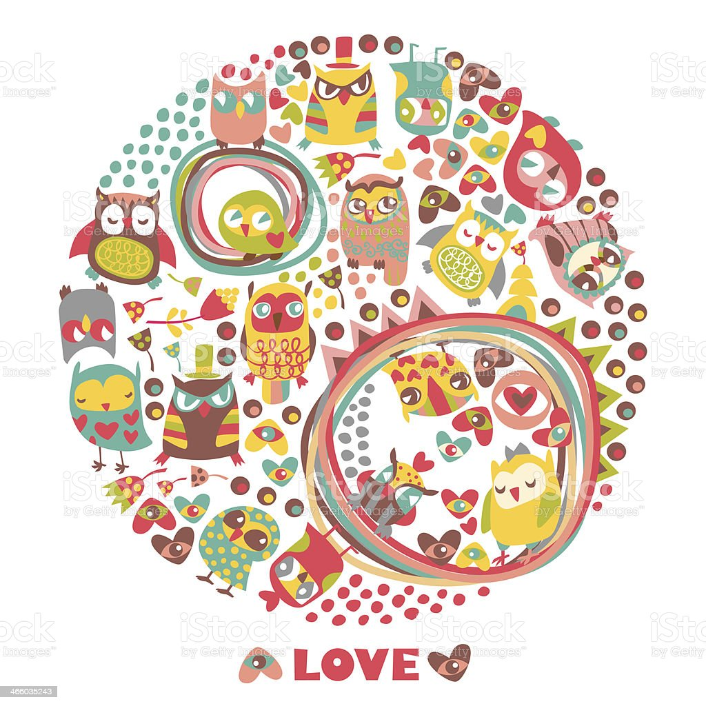 Owls circle background. Love card. royalty-free stock vector art