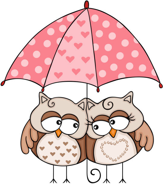 Royalty Free Cute Owl With Umbrella In The Rain Clip Art ...