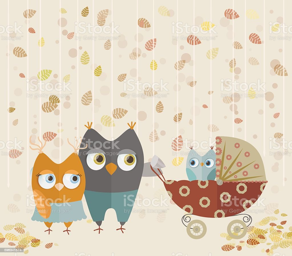 owls family walking royalty-free owls family walking stock vector art & more images of activity