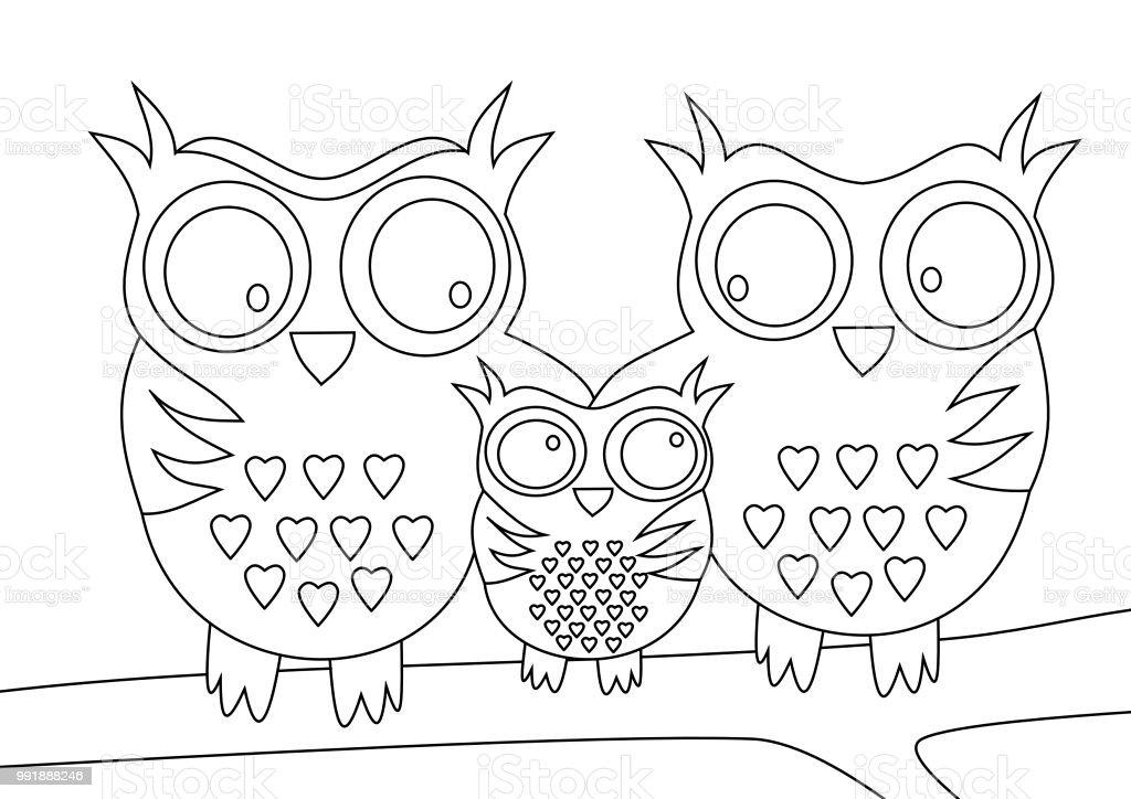 Baykuşlar Aile Anne Ve Baba Ve çocuk Ile Stok Vektör Sanatı