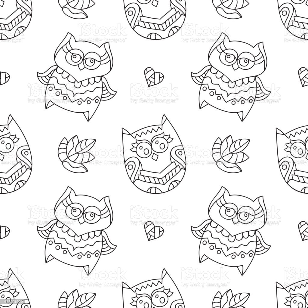 Owls For Coloring Stock Vector Art & More Images of Animal Markings
