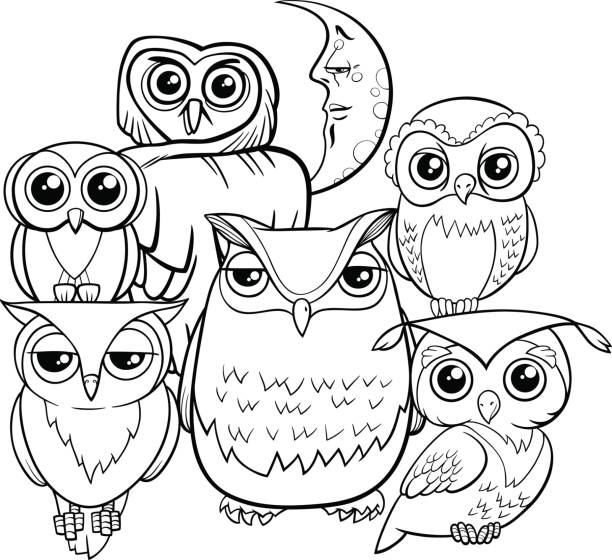 owls group cartoon characters coloring book - black and white owl stock illustrations, clip art, cartoons, & icons