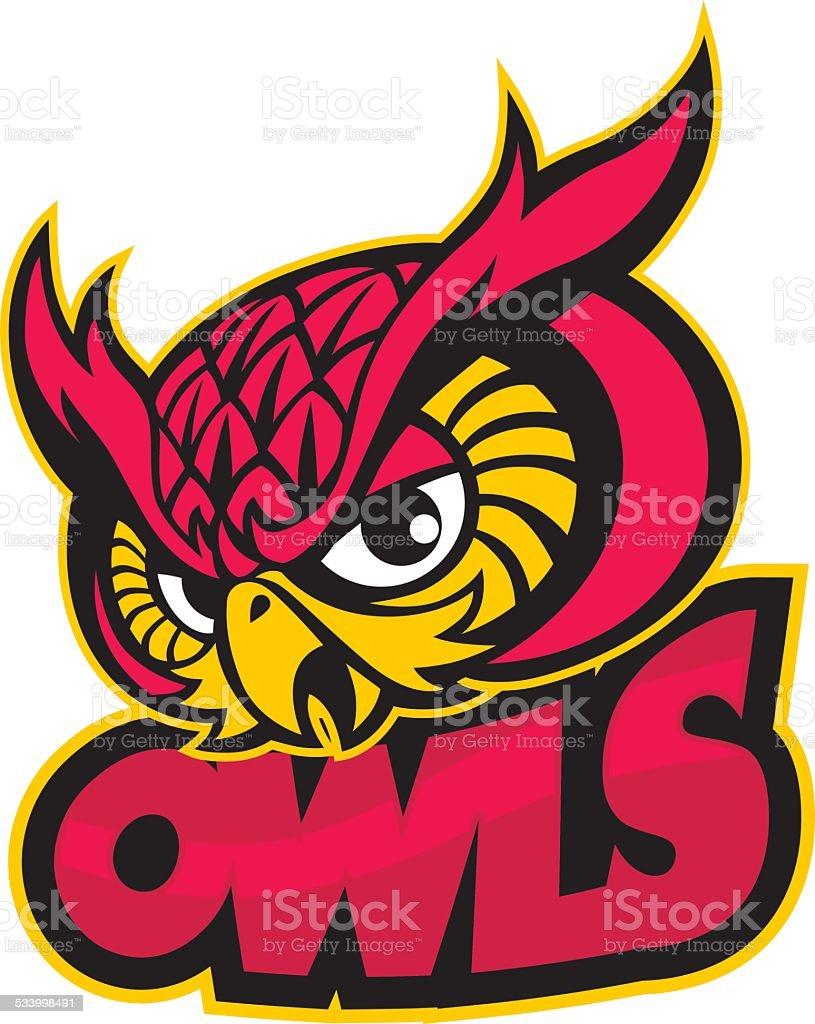 owls head mascot vector art illustration