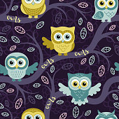 Owls in the summer forest seamless pattern. Owls on a tree. Vector background for fabric, textile, wallpaper, posters, gift wrapping paper, napkin, pajamas. Print for children.