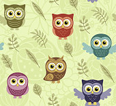 Owls in the summer seamless pattern. Birds and flowers. Vector background for fabric, textile, wallpaper, posters, gift wrapping paper, napkin, pajamas. Print for children.
