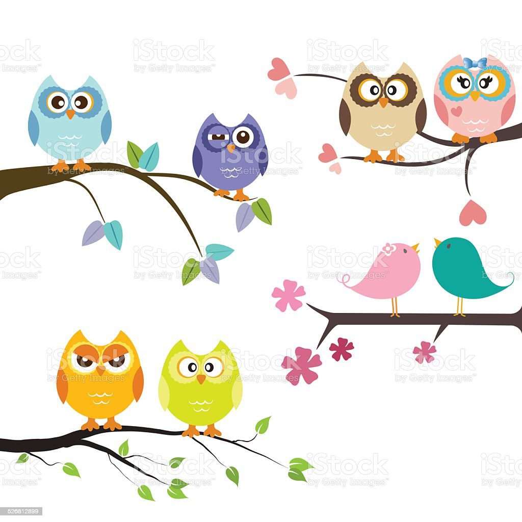owls vector art illustration