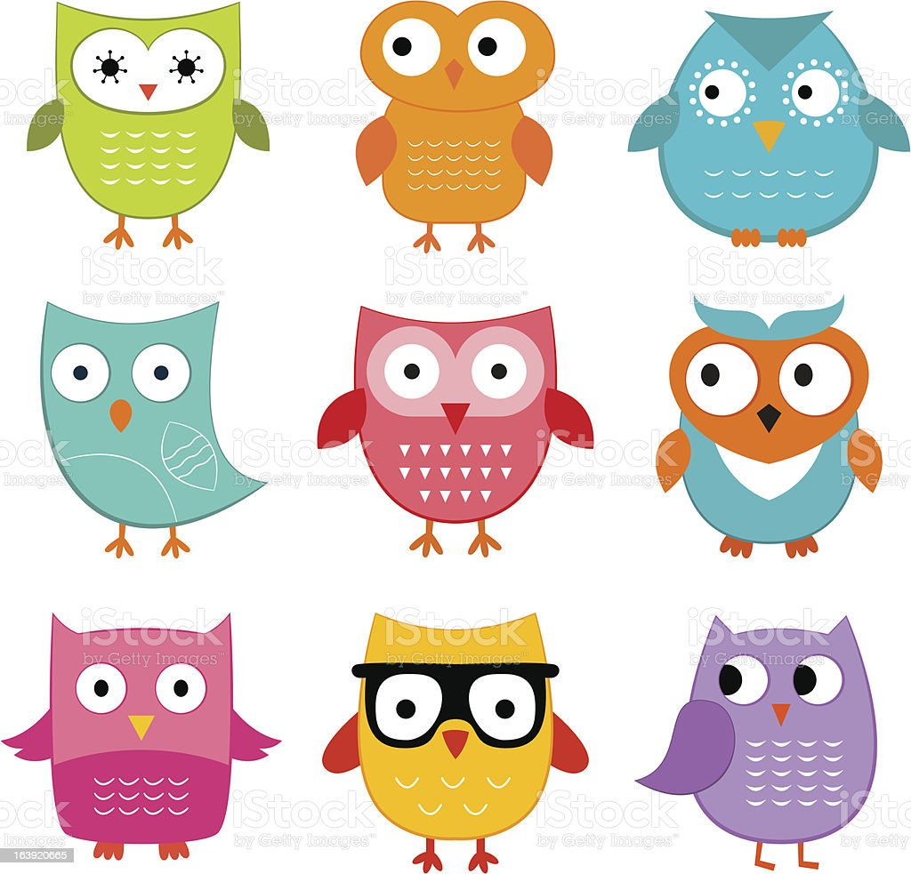 Owls vector set vector art illustration