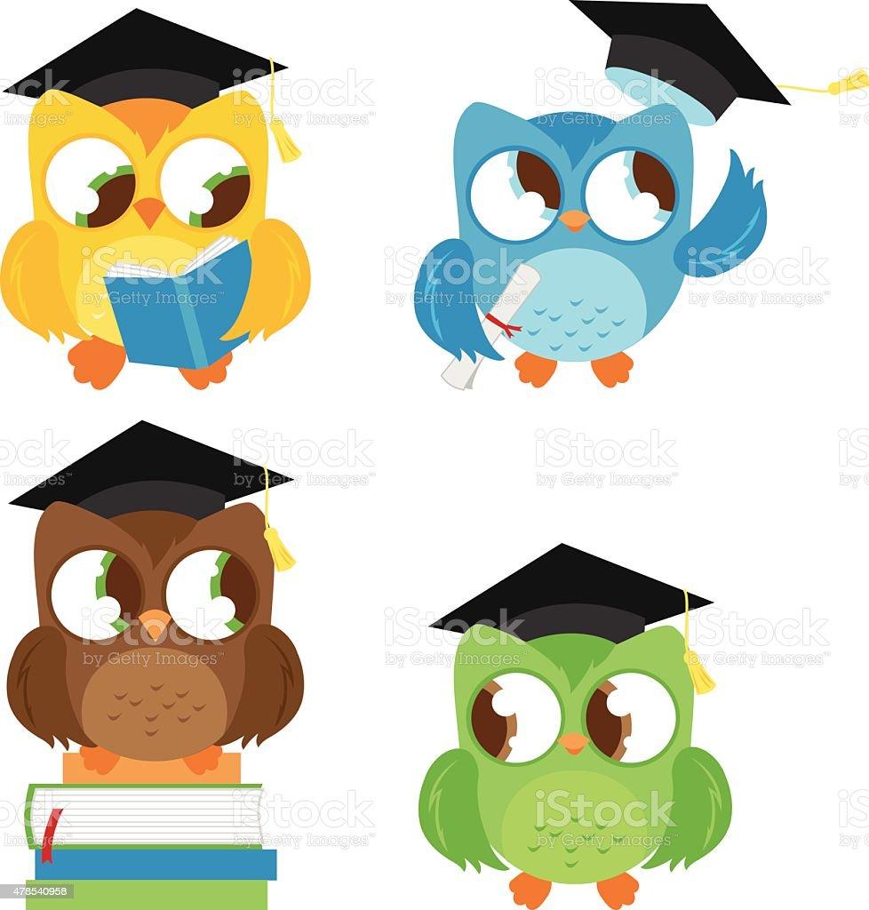 Se llegan con sombrero de graduación de la educación - ilustración de arte vectorial