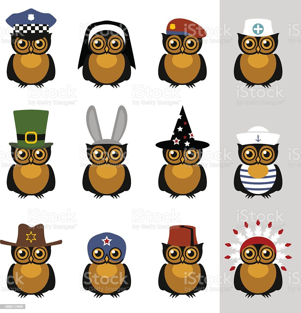 Owls with hats and caps vector art illustration
