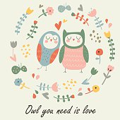 Cute loving owls. 'Owl you need is love' poster