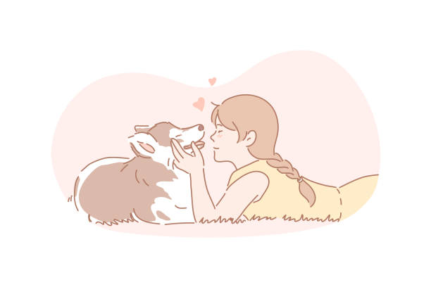 Owner, dog, pet, friendship, care concept Owner, dog, pet, care concept. Young girl cares about her dog. Happy child is hugging domestic pet. True friendship between human and animal. Owner and pet is devoted to each other. Simple flat vector sentimentality stock illustrations