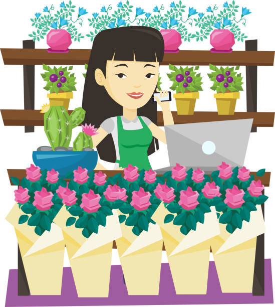 owner of flower shop talking on a phone - small business owner stock illustrations