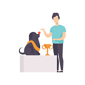 Owner presenting his purebred champion dog at pet show competition vector Illustration isolated on a white background.