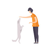 Owner presenting his purebred dog at show exhibition, dog beside its master vector Illustration isolated on a white background.