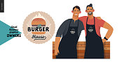 Burger house -small business owners graphics - two owners. Modern flat vector concept illustrations - two young men wearing black aprons, standing embracing at the wooden counter. Shop logo