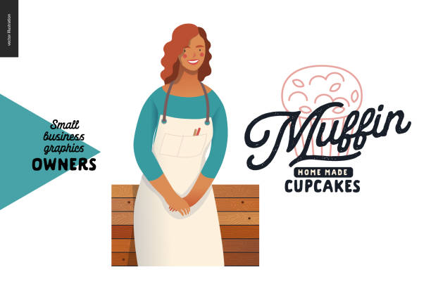 owners - small business graphics - muffins - small business owner stock illustrations