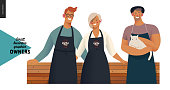 Owners -small business owners graphics. Modern flat vector concept illustrations - young man and woman standing embraced wearing black aprons, young man with a cat, standing at the wooden counter