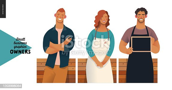 Owners -small business owners graphics. Modern flat vector concept illustrations -young man crossing hands, young woman wearing white apron, young man with a blackboard, standing at the wooden counter