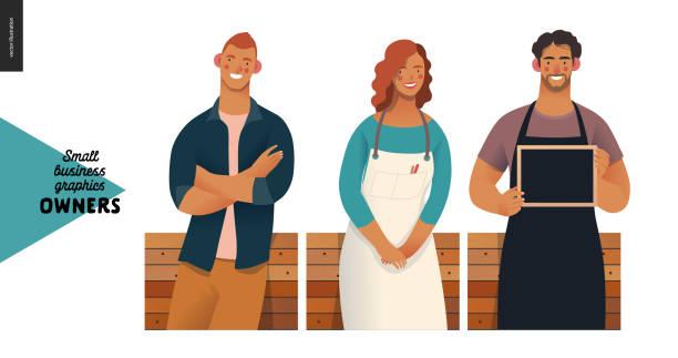 właściciele - grafika dla małych firm - bar lokal gastronomiczny stock illustrations