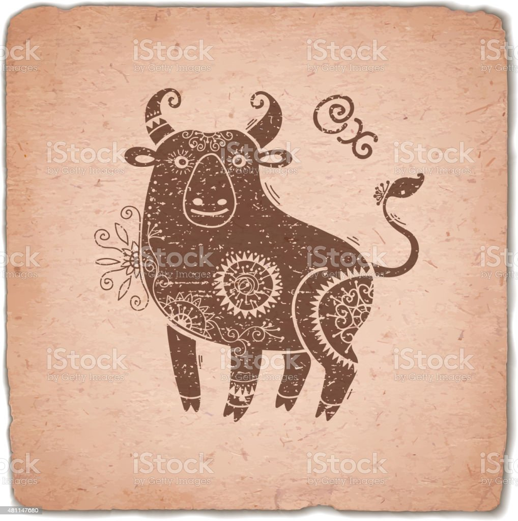 Ox. Chinese Zodiac Sign Horoscope Vintage Card vector art illustration