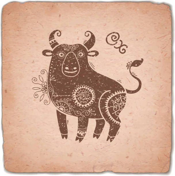 ox. chinese zodiac sign horoscope vintage card - wildlife calendar stock illustrations, clip art, cartoons, & icons