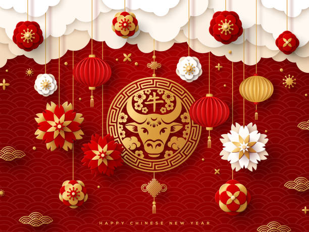 황소, 꽃, 구름 - chinese new year stock illustrations