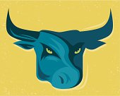 vector mascot of bull head with grunge effect.