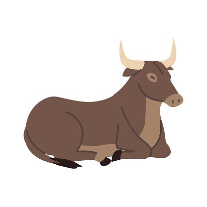 ox lies on the floor icon design on white background