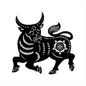 Bison chalk white icon on black background. North American fauna, herbivore animal, endangered species. Cattle farm, domestic livestock. Large buffalo isolated vector chalkboard illustration
