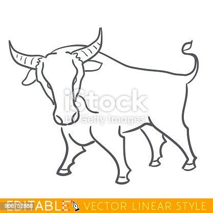 Ox Zodiac Sign Bull Chinese Year Calendar 2021 Editable Line Sketch