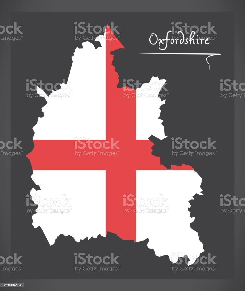 Oxfordshire map England UK with English national flag illustration vector art illustration