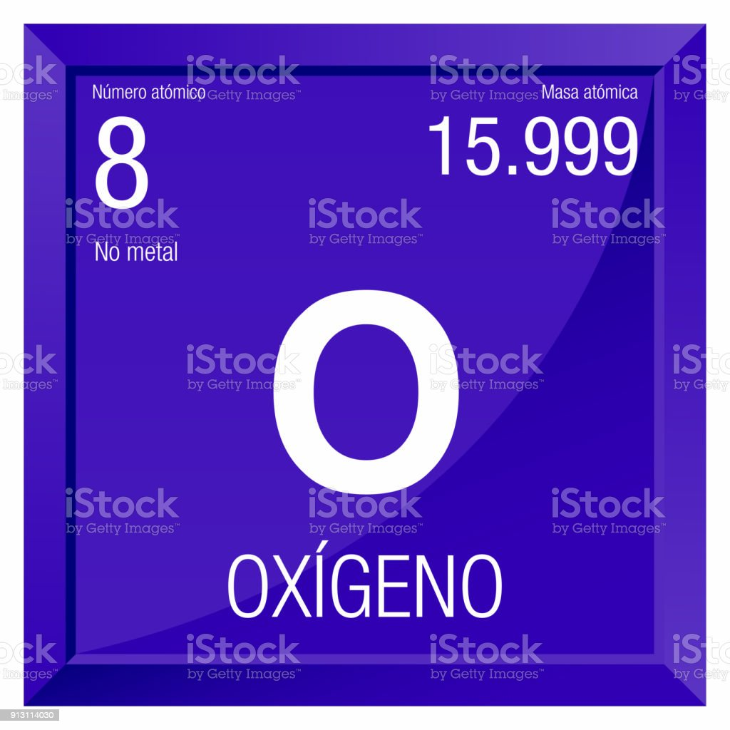 oxigeno symbol oxygen in spanish language element number 8 of the