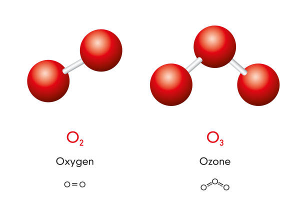 Oxygen and ozone molecule models and chemical formulas vector art illustration