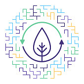 Line vector icon illustration of oxygen cycle with maze like background.