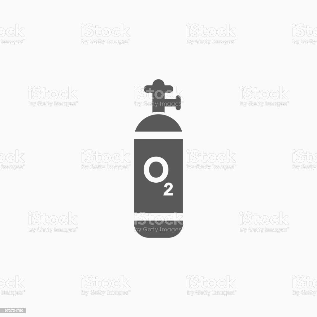 zuurstof cilinder pictogram - Royalty-free Ademhalingsoefening vectorkunst