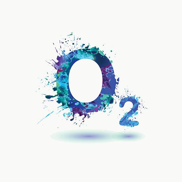 O2 Oxygen Formula icon. Splash paint O2 Oxygen Formula. Waterciolor splashes paint medical oxygen equipment stock illustrations