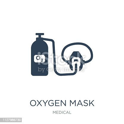 oxygen mask icon vector on white background, oxygen mask trendy filled icons from Medical collection