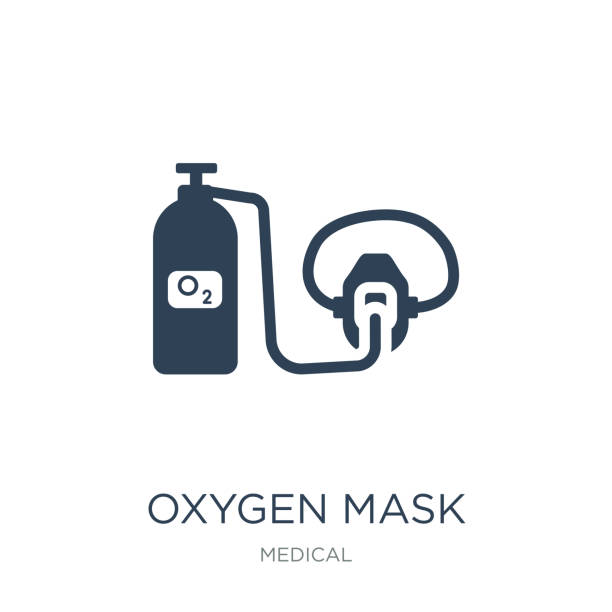 oxygen mask icon vector on white background, oxygen mask trendy oxygen mask icon vector on white background, oxygen mask trendy filled icons from Medical collection oxygen mask stock illustrations