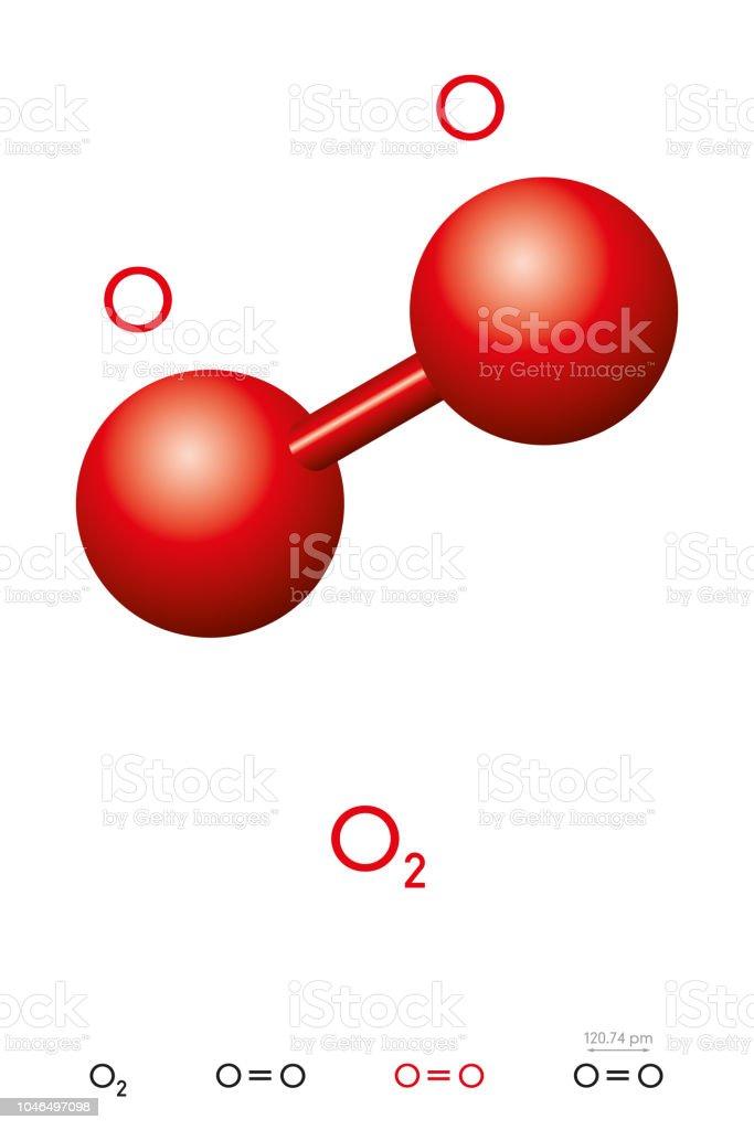 Oxygen O2 Dioxygen Molecule Model And Chemical Formula Stock Vector
