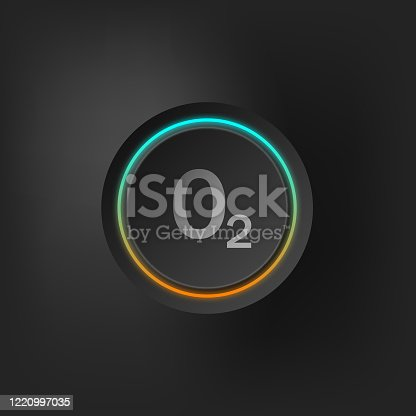 istock oxygen sign on stylized button 1220997035
