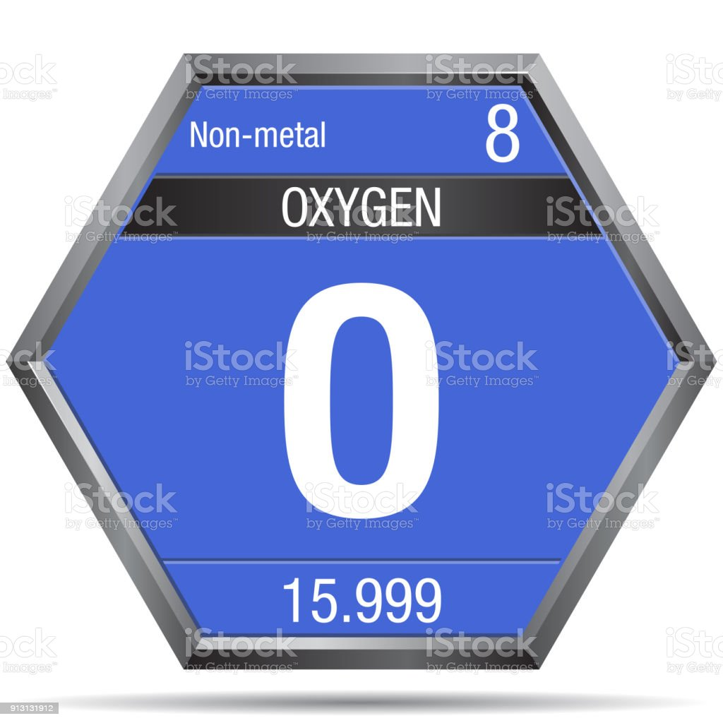 Oxygen symbol in the form of a hexagon with a metallic frame oxygen symbol in the form of a hexagon with a metallic frame element number 8 buycottarizona Choice Image