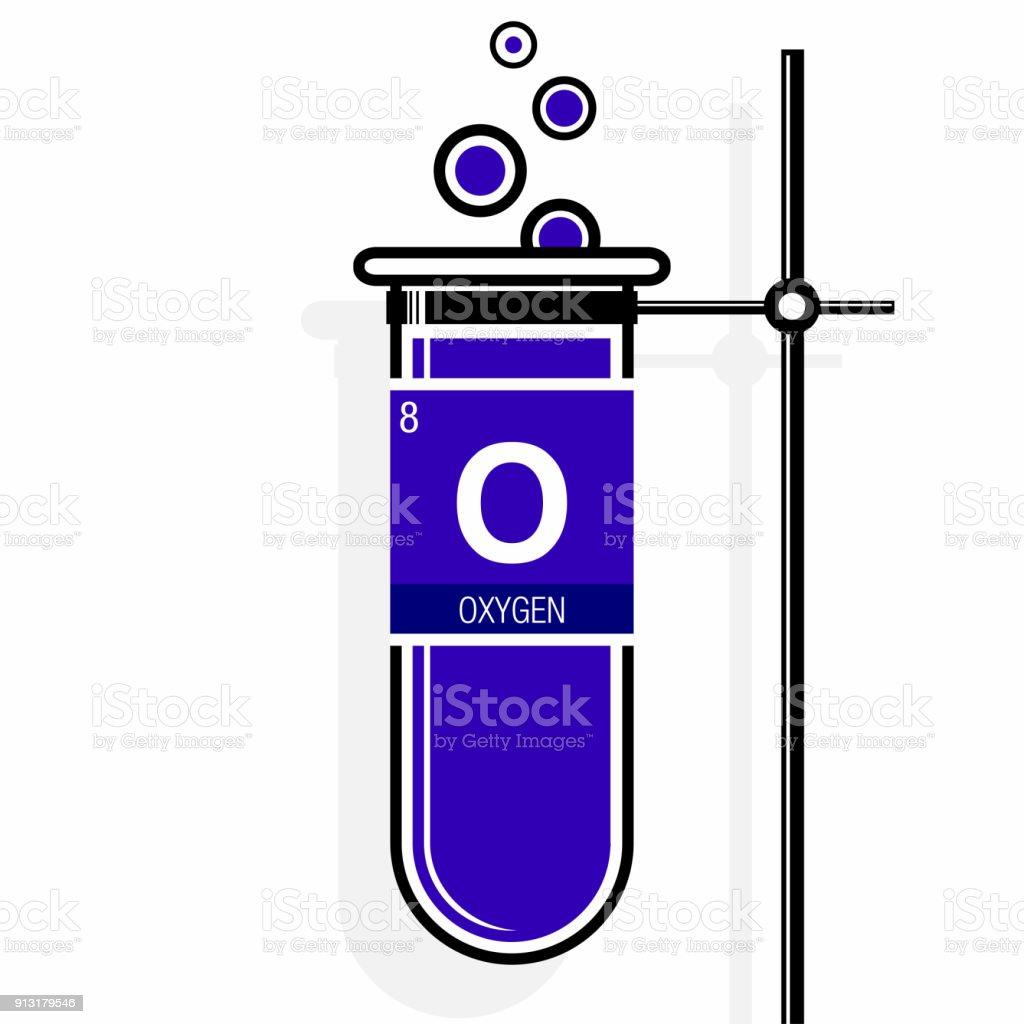 Oxygen Symbol On Label In A Violet Test Tube With Holder Element