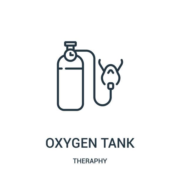 sauerstoffbehälter-ikonenvektor aus therapiesammlung. dünne linie sauerstoffbehälter konsicon vektor-illustration. - sauerstoff stock-grafiken, -clipart, -cartoons und -symbole