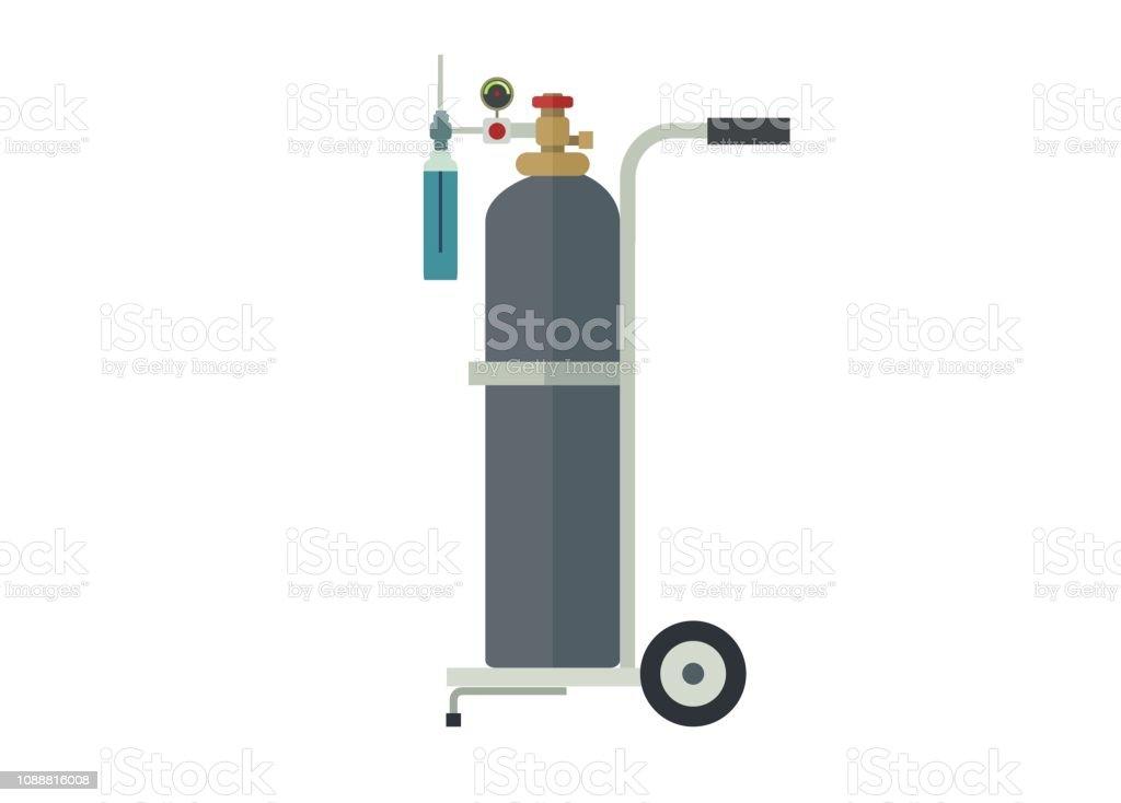 Sauerstoffschlauch und seinen Wagen, einfache Darstellung - Lizenzfrei Atemschlauch Vektorgrafik