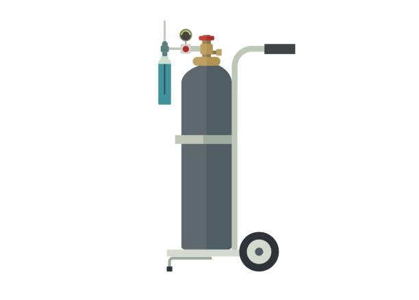 oxygen tube and its trolley, simple illustration simple illustration of an oxygen tube and its trolley medical oxygen equipment stock illustrations