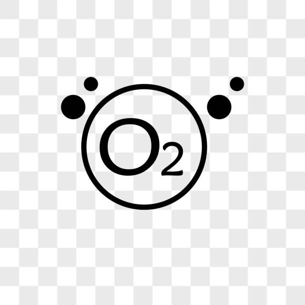 sauerstoff-vektor icon auf transparenten hintergrund, sauerstoff-symbol - sauerstoff stock-grafiken, -clipart, -cartoons und -symbole