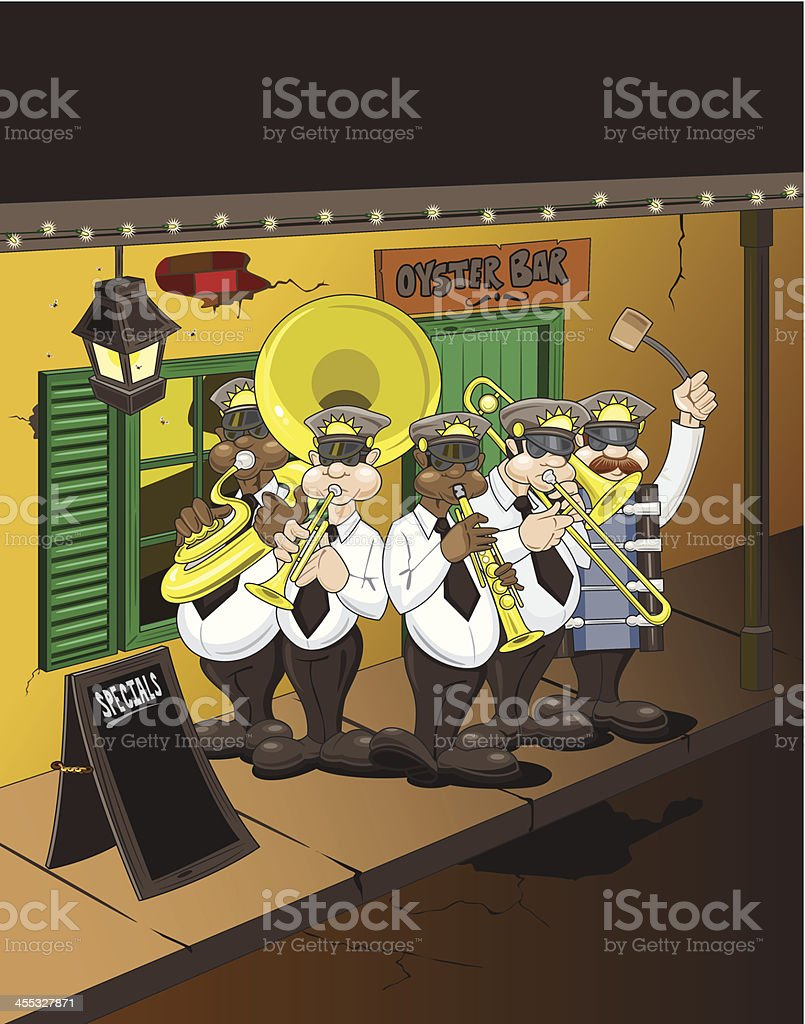 Oyster Bar and Brass Band vector art illustration