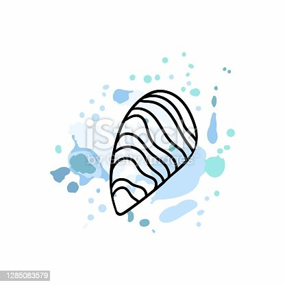 istock Oyster logo. Promotional sea food sticker, website banner in blue and black colors, trendy watercolor abstract background and silhouette, discount product emblem, marketing badge vector poster 1285083579