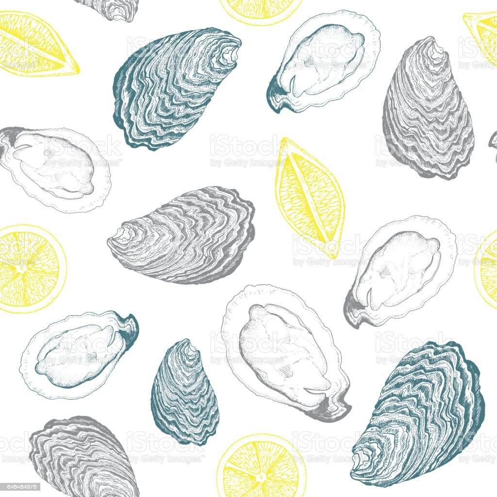 Oysters and lemons seamless vector pattern. vector art illustration